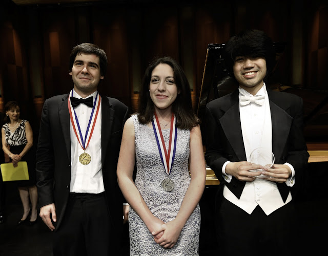 Cliburn gold medalist Yadym Kholodenko, left, 26, of Ukraine, silver medalist Beatrice Rana, 20 of Italy, center, and 3rd place winner Sean Chen, 24, of The United States. Photo: Carolyn Cruz/The Cliburn