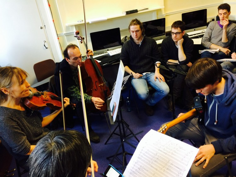 Lucilin musicians and Trinity students discuss the newly composed works